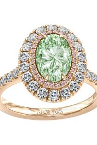 ANGLE oval 1.52ct fancy intense yellow green w 0.1 ct fancy pink halo & 0.77 ct brilliant outer halo in 18k rose gold POA Tresor Paris Made in Britain