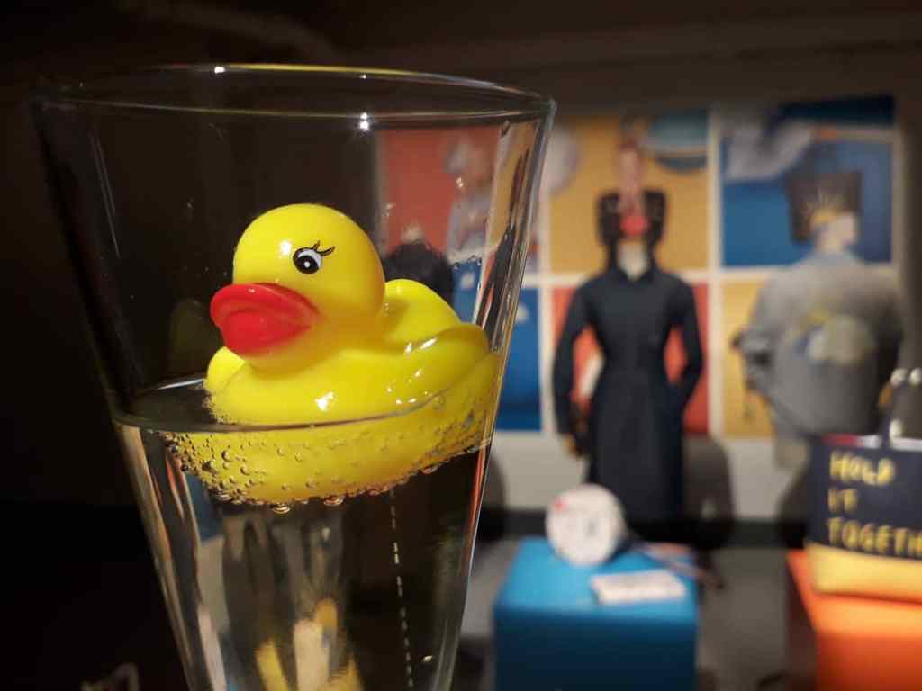 Guests were treated to champagne and were encouraged to visit sweets' bar with fizzy sweets and yellow ducks