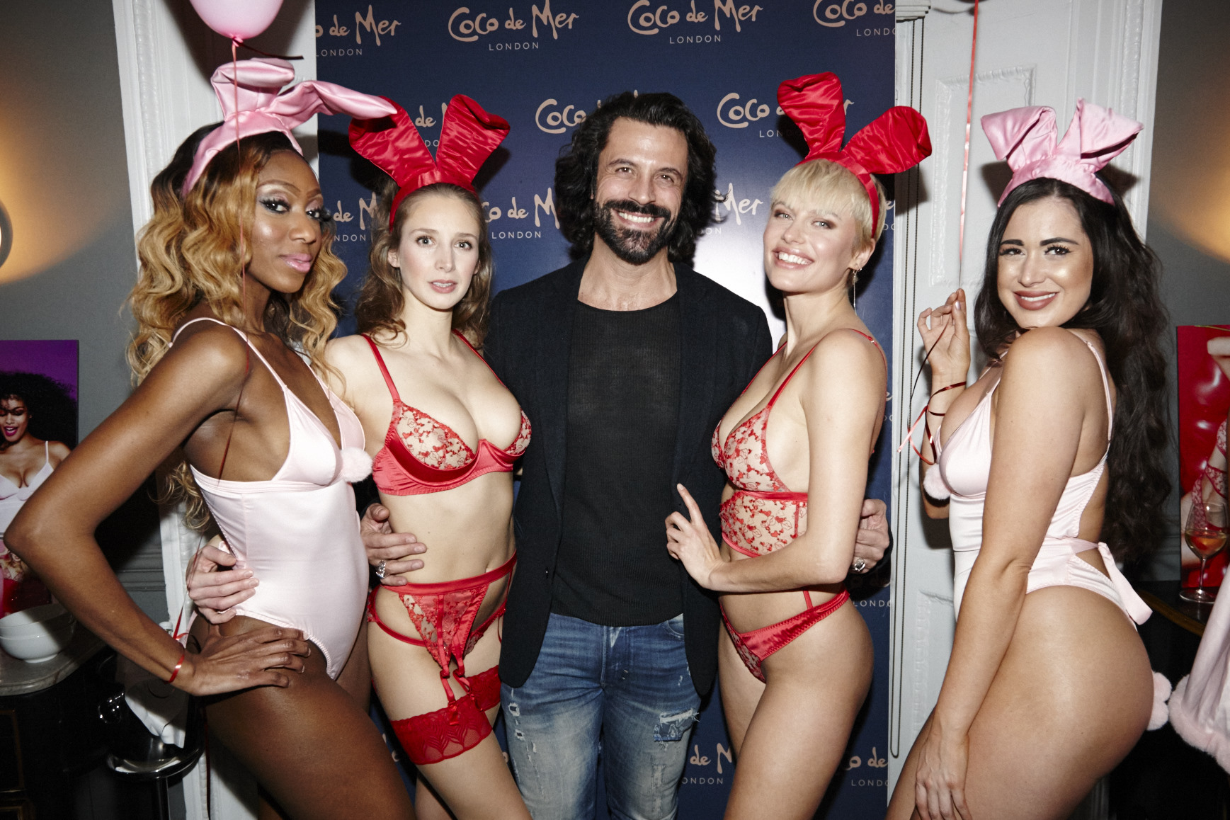 Actor christian Vit with models Coco De Mer Lingerie Playboy SS19 Party