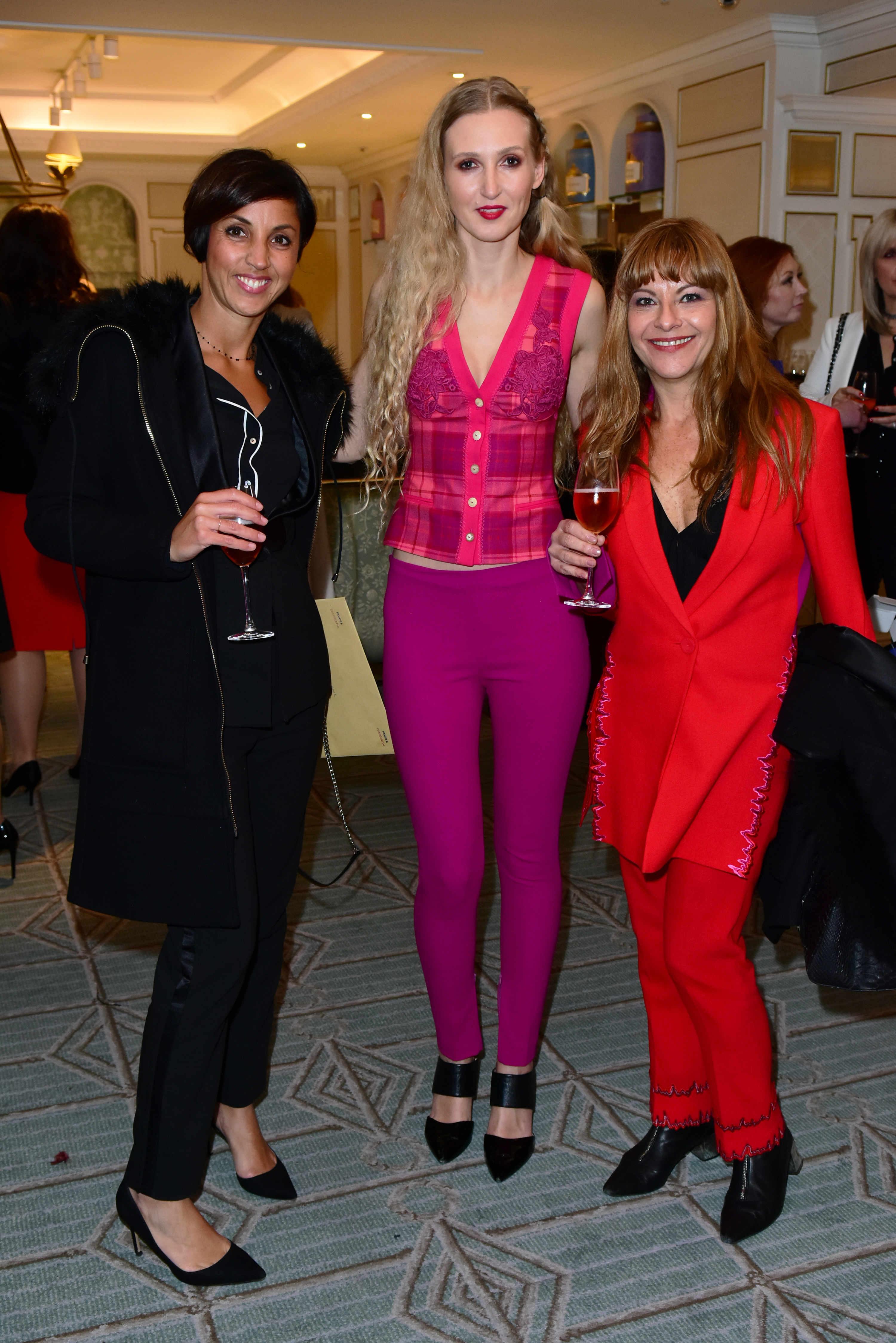 Ghizlane Ennil, Tamara Orlova-Alvarez, Debora Ramos Fortras fashion showcase at Fortnum and Mason. © Joe Alvarez
