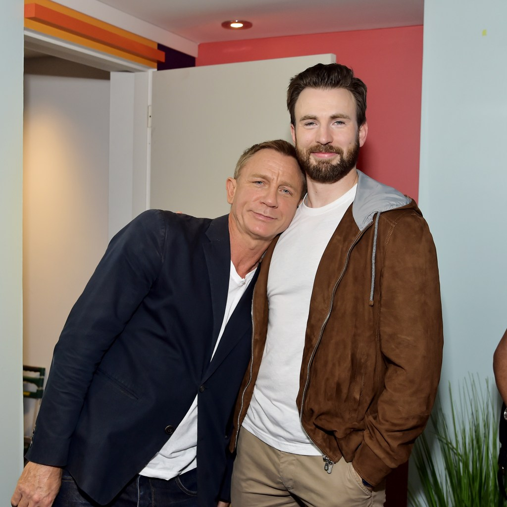 TORONTO, ONTARIO - SEPTEMBER 07: Daniel Craig and Chris Evans stop by AT&T ON LOCATION during Toronto International Film Festival 2019 at Hotel Le Germain on September 06, 2019 in Toronto, Canada. (Photo by Stefanie Keenan/Getty Images for AT&T)