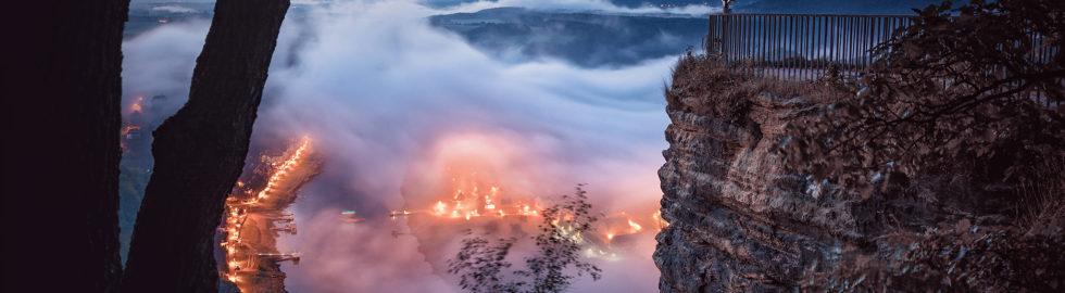 Bastei am Morgen / Blick auf Rathen