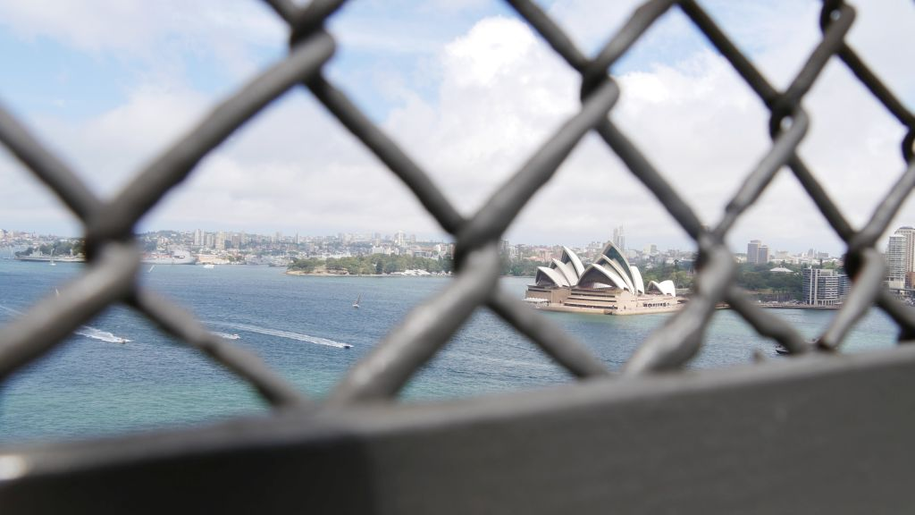 View of the Opera House in Sydney from the Harbour Bridge