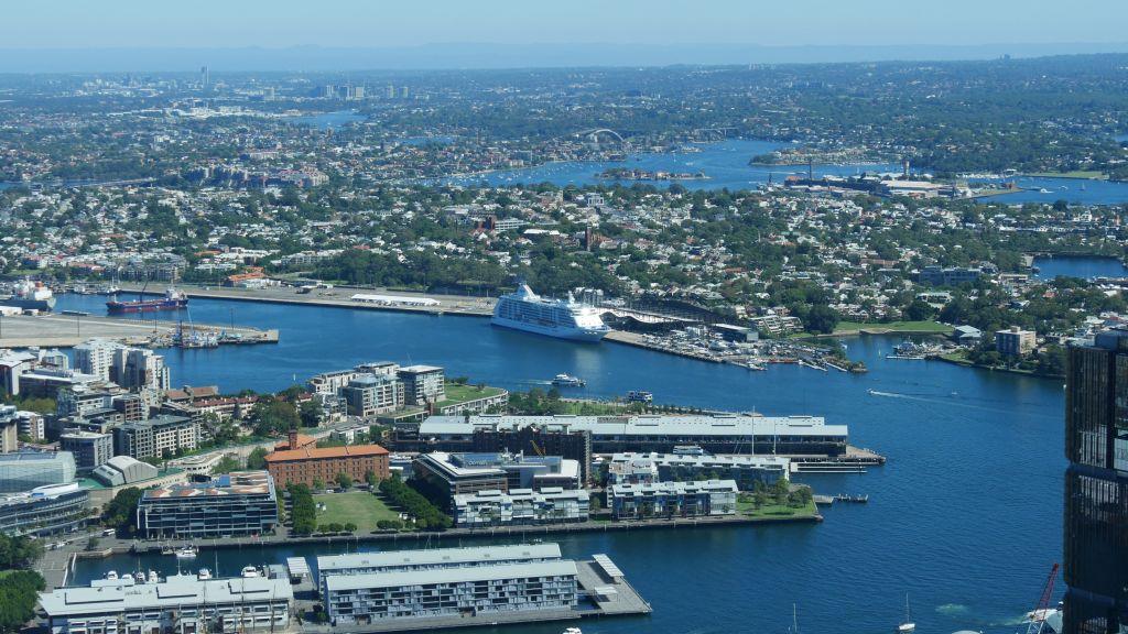 Uitzicht over Sydney met cruise schip