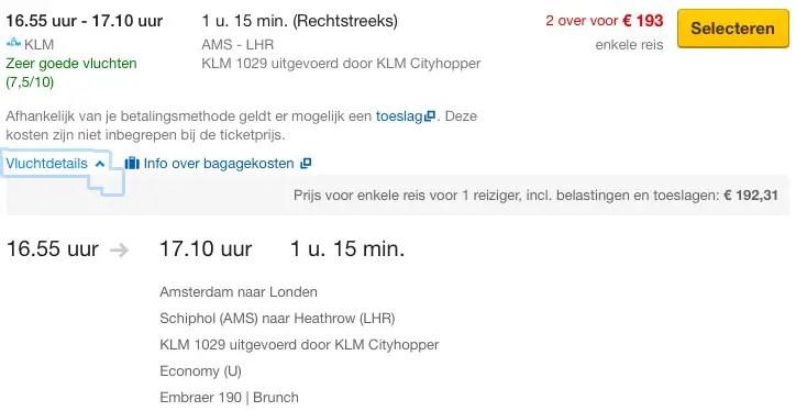 Boekingsklasse Amsterdam - London1