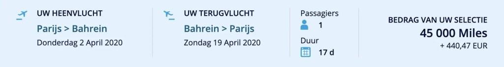 Flying Blue promo award februari 2020 Parijs - Bahrein