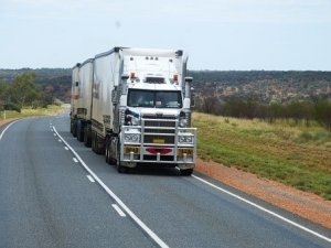a truck transporting goods