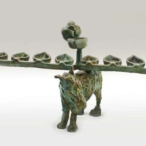 Menorah with Donkey and Bird