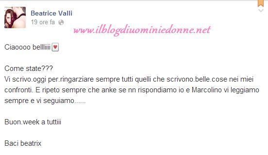 Beatrice Valli scrive su facebook per ringraziare i fans