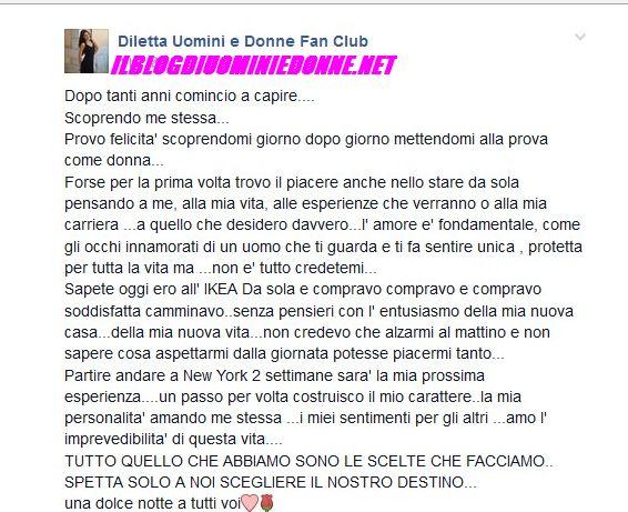 Diletta Pagliano scrive su facebook