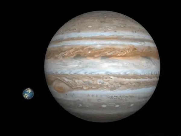 Paragone tra le dimensioni di Giove e quelle della Terra