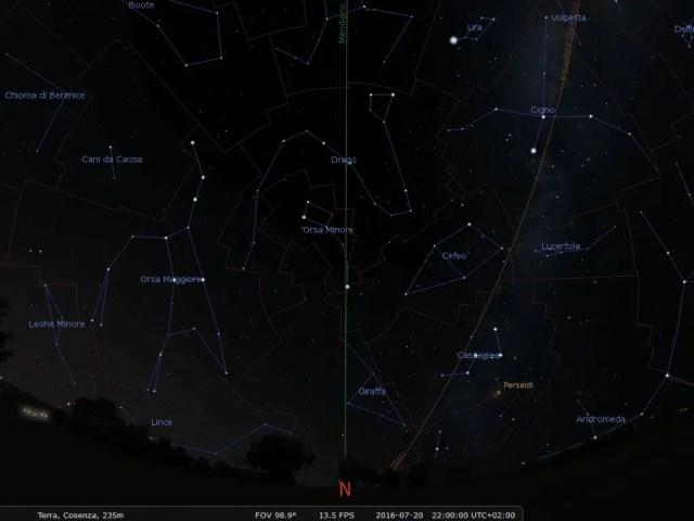 La disposizione delle costellazioni visibili in direzione Nord alla data, all'ora e nel giorno indicati nell'immagine