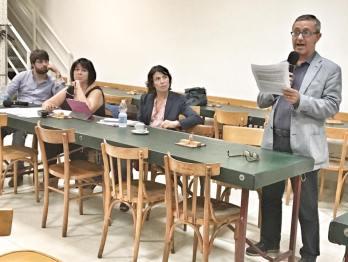 Da sinistra: Roberto Pasi (segretario dimissionario), Marianna Ferruzzi (presidente assemblea congressuale), Eleonora Proni (sindaco di Bagnacavallo) e Maurizio Randi.