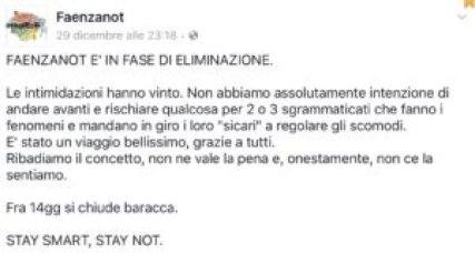 L'annuncio della chiusura sulla pagina Facebook di Faenzanot