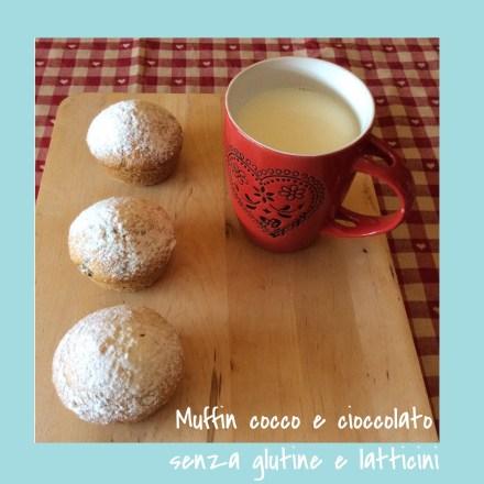 Muffin cocco e cioccolato senza glutine e latticini