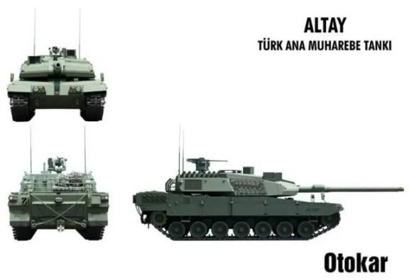 Tre viste del nuovo carro turco Altay, in fase di sperimentazione.