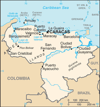 Mappa del Venezuela