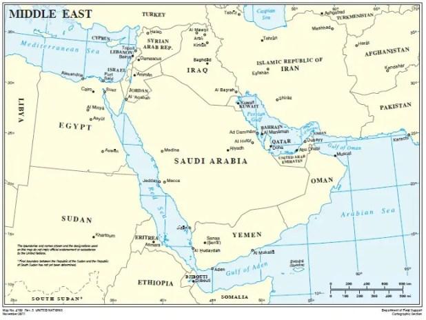 Mappa del Medio Oriente. Image credit: UN Cartographic Section.