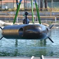 Fig.5 - Il veicolo subacqueo V-FIDES (Veicolo Filoguidato per l'Identificazione e l'Esplorazione Subacquea) capace di operare sia come AUV che ROV. Courtesy of Leonardo-Finmeccanica