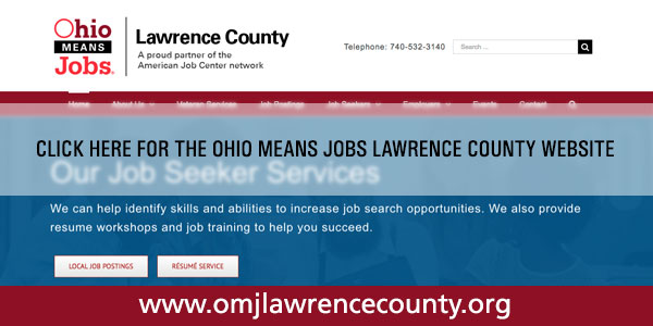 redirect button for the ohio means jobs lawrence county website