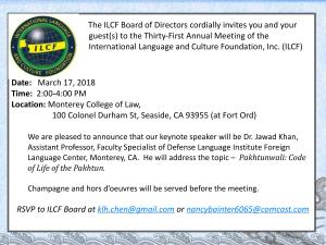 ICLS Annual Meeting March 17, 2018