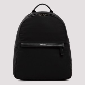 Giorgio Armani - Black Backpack With Leather Trims Unica