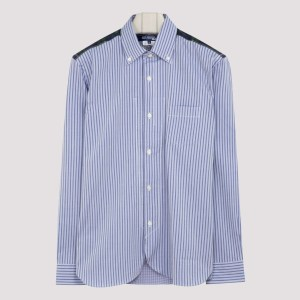 Junya Watanabe - Striped Cotton Shirt With Tartan Detailing L