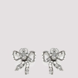 Gucci - Crystal Embellished Bow Earrings Unica
