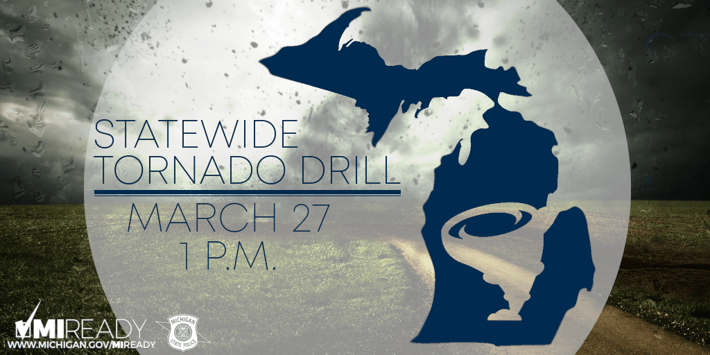 Tornado Drill March 27 at 1 PM