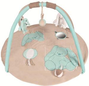 tapis d eveil avec arches lapins lapidou bleu turquoise