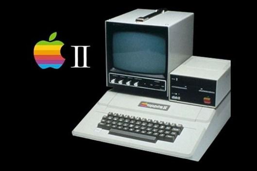 Una pubblicità di un Apple II con un monitor e un floppy-disk