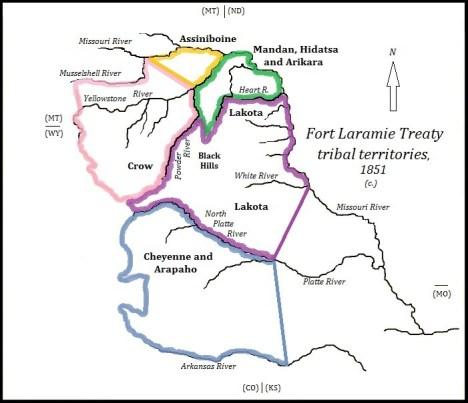 Delimitazione dei territori dei nativi americani stabiliti dal primo trattato di Fort Laramie (1851)