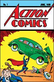 Superman nella copertina del primo numero di Action Comics (1938).