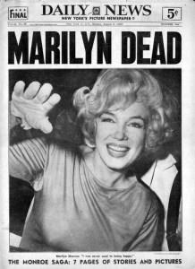 Morte di Marilyn Monroe, la copertina del Daily News