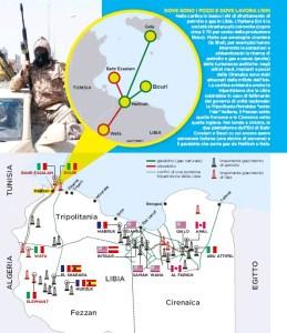 """Nella cartina in basso i siti di sfruttamento di petrolio e gas in Libia. L'italiana Eni è la società straniera più coinvolta (copre circa il 70 per cento della produzione libica). Molte sue omologhe straniere (la Shell, per esempio) hanno interrotto le estrazioni e abbandonato la ricerca di petrolio e gas a causa (anche) delle turbolenze politiche: negli ultimi mesi, impianti e pozzi della Cirenaica sono stati attaccati dalle milizie dell'Isis. La cartina evidenzia anche la tripartizione che la Libia subirebbe in caso di fallimento del governo di unità nazionale: la Tripolitania finirebbe """"sotto l'ala"""" italiana, il Fezzan sotto quelle francese e la Cirenaica sotto quella inglese. Nel tondo a sinistra, le due piattaforme dell'Eni di Bahr Essalam e Bouri su cui ancora opera personale italiano (una decina di persone) e il gasdotto che porta gas da Mellitah a Gela"""