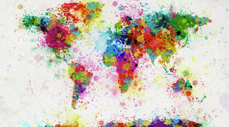 "Internazionalizzazione - ""World Map Paint Drop"" di Michael Thompsett"