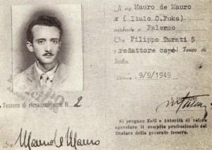 Il tesserino di Mauro De Mauro al Mattino di Sicilia