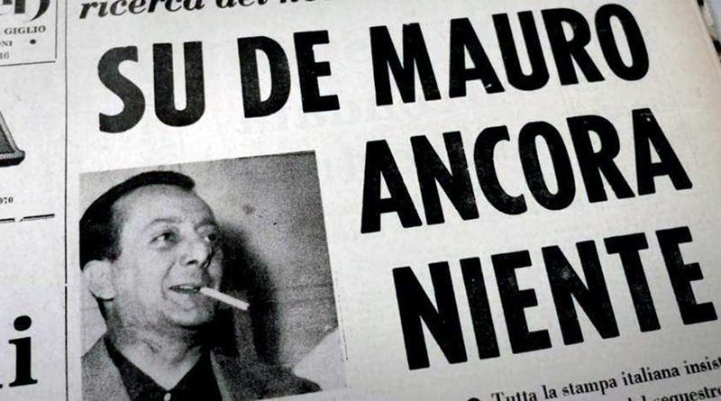 Titolo in prima pagina de L'Ora su scomparsa Mauro De Mauro