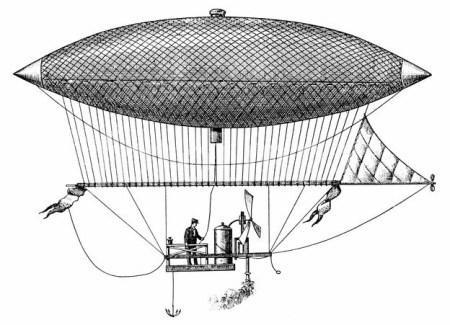 Il primo volo con pallone dirigibile, costruito dal francese Henry Giffard