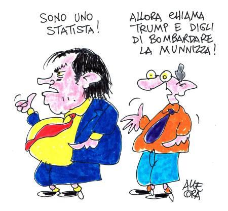 Leolook - Leoluca Orlando, sindaco di Palermo - Vignetta di Gianni Allegra