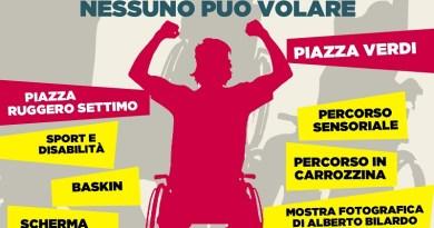 """Domenica 3 dicembre a Palermo si svolgerà la seconda edizione del Carrozzina Day. """"Nessuno può volare"""" è lo slogan scelto quest'anno"""