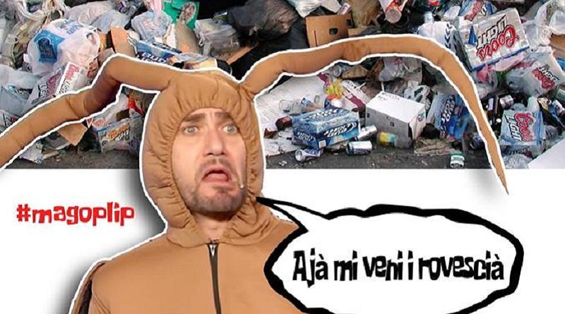 Tra comicità e denuncia sociale il post di Davide Tusa, il Mago Plip di Sicilia Cabaret, che con il personaggio dello scarafaggio punta il dito sui rifiuti