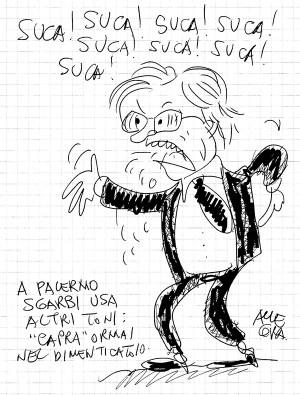 Vignetta di Gianni Allegra su Vittorio Sgarbi