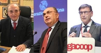 I presidenti dell'Alleanza delle cooperative italiane (Agci, Confcooperative, Legacoo), Begani, Gandini, Lusetti
