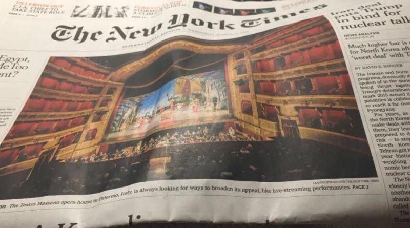 Il teatro Massimo di Palermo sulla prima pagina del new york times