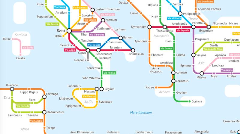 Roman Roads map detail by Sasha Trubetskoy