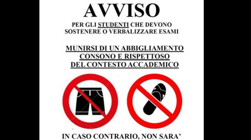 Studenti, niente ciabatte e pantaloncini: altrimenti niente esami. Lo scrive su Facebook un prof dell'Università di Palermo