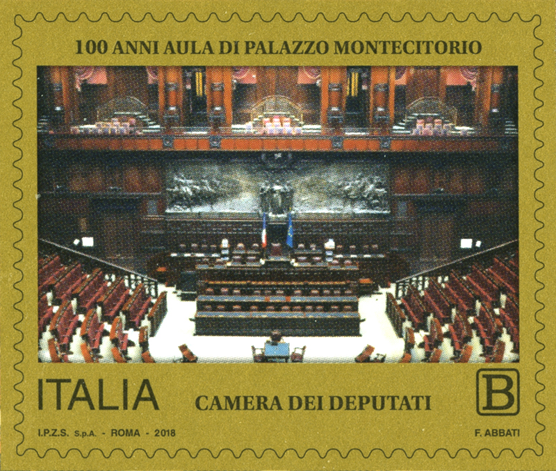 Francobollo 100 anni aula Montecitorio