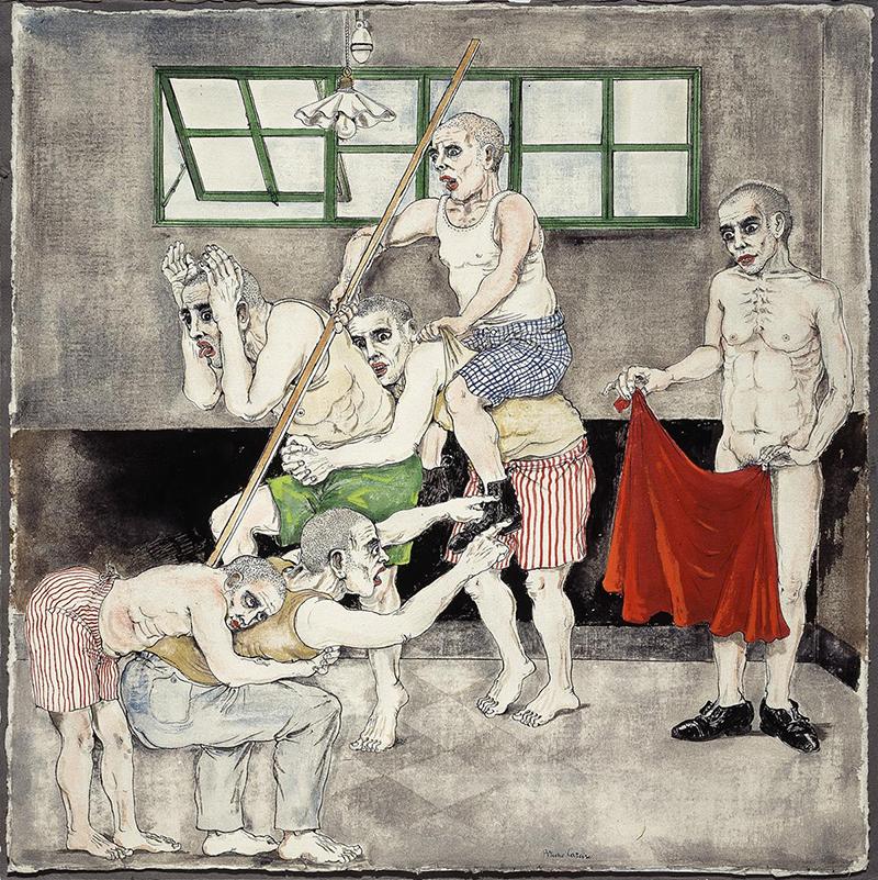 I pazzi del manicomio di Palermo (che mimano la corrida) 1955, disegno a china acquerellata cm 56x56