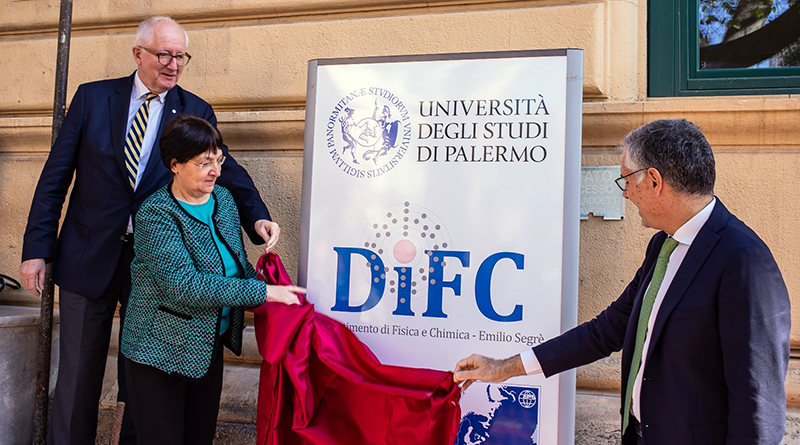 Presidente Società Europea di Fisica Voss, direttore DiFC Milioto, rettore Unipa Micari